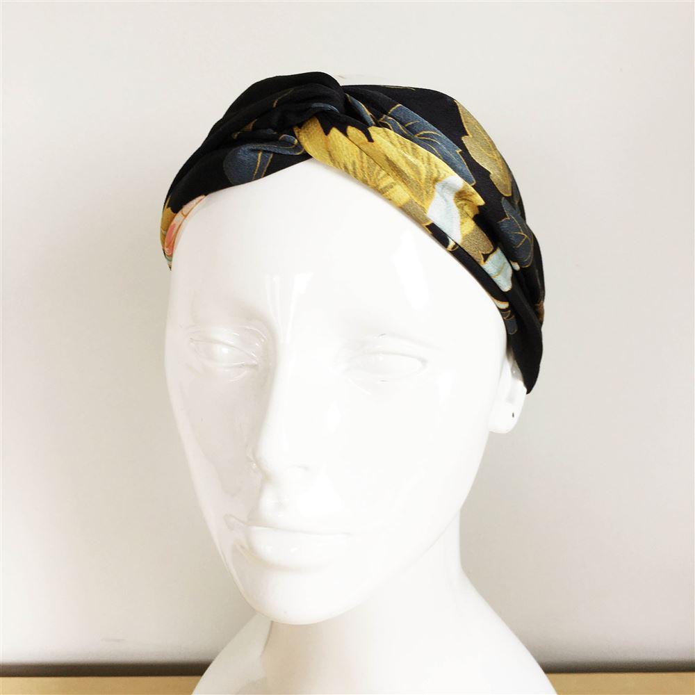 service durable pas mal expédition gratuite Bandeau cheveux fleuri noir jaune bleu